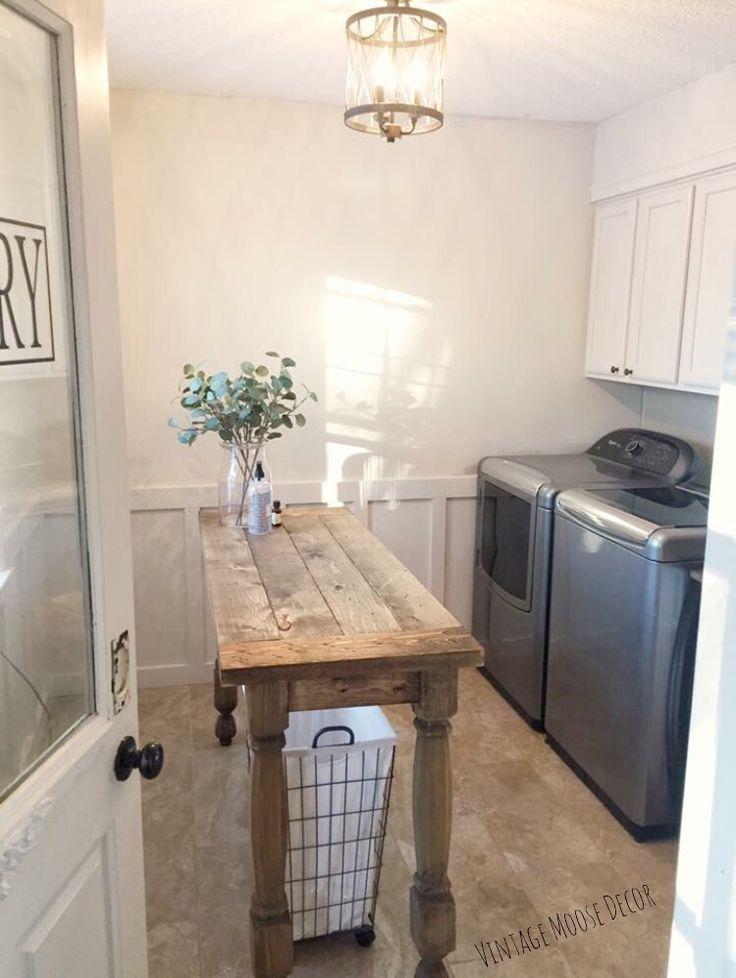 Farmhouse Laundry Room Folding Table