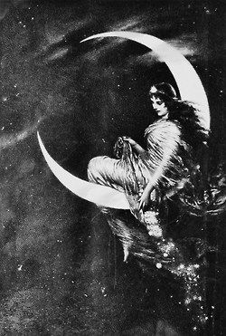 The witch on the moon signifies that they are above everyone else and she seems as if she's casting a spell or toying with the people below. This is her way of controlling the way Macbeth thinks