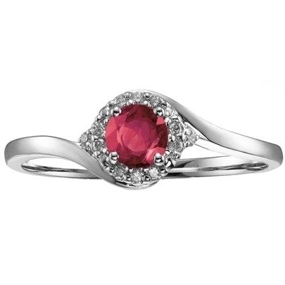 9ct White Gold Diamond Ruby Round Cluster 51Z82WG-10RUBY from The Jewel Hut Collection, available at £225.00