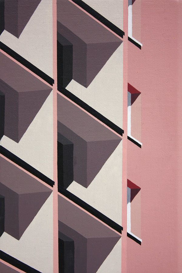 homebuildlife:  Fondant pink, jasmine, white and black form these stunning perspective paintings by Roos van Dijk