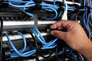 Patch panel for data cabling. Powerd by fiberstore.com