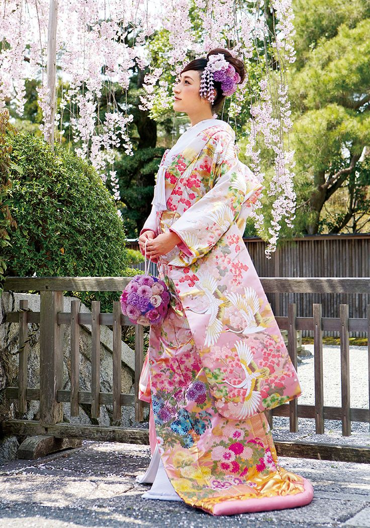 Gorgeous Floral IroUchikake with Flying Cranes