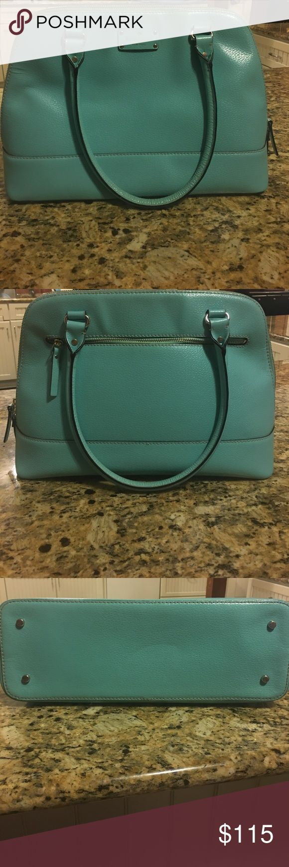 Authentic Kate Spade Wellesley Rachelle Sea foam green leather purse with zip top closure. Gold plated hardware and feet, Interior zip pocket and double slide pockets. Some ware and tear due to carrying it for a few months. Minor stains inside. Good condition! kate spade Bags Shoulder Bags