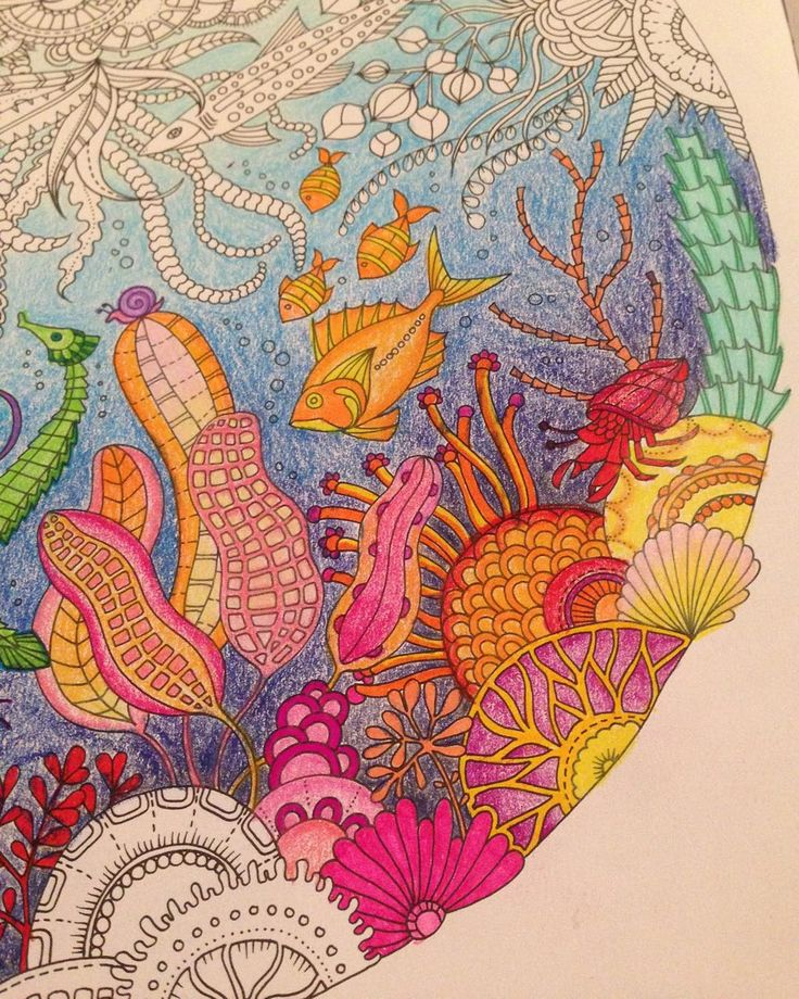 Worked on some sea plants and coral last night #johannabasford #lostocean #underwater #coral #barnacles #blue #ocean #sea #fish #colour #color #colouring #adultcolouring #stabilo #fineliners #stabilo88 #karisma #pencils #sakura #gellyroll #gold