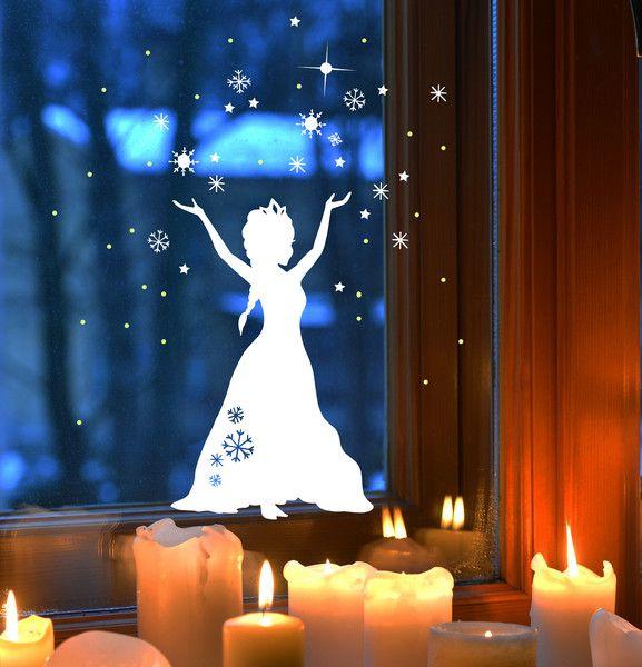 Fensterbild Kinder Schneekönigin Frozen M1678 von deinewandkunst auf DaWanda.com