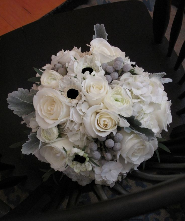Bridesmaid Bouquets Option 4 with White Hydrangea, Roses, Spray Roses, Black and White Anemones with Silver Dusty Miller and Brunia Berries.