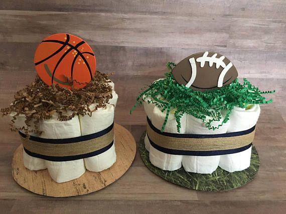 Sports Mini Diaper Cakes / Basketball/Football/Baseball/Soccer