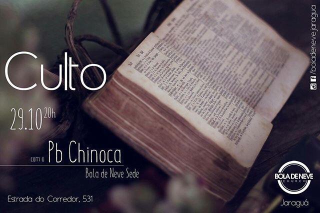 Sábado é dia de #culto na igreja Bola de Neve Jaraguá.  Junte os amigos e vem, vamos adorar ao Senhor!  #sabado #boladeneve #church #jaragua