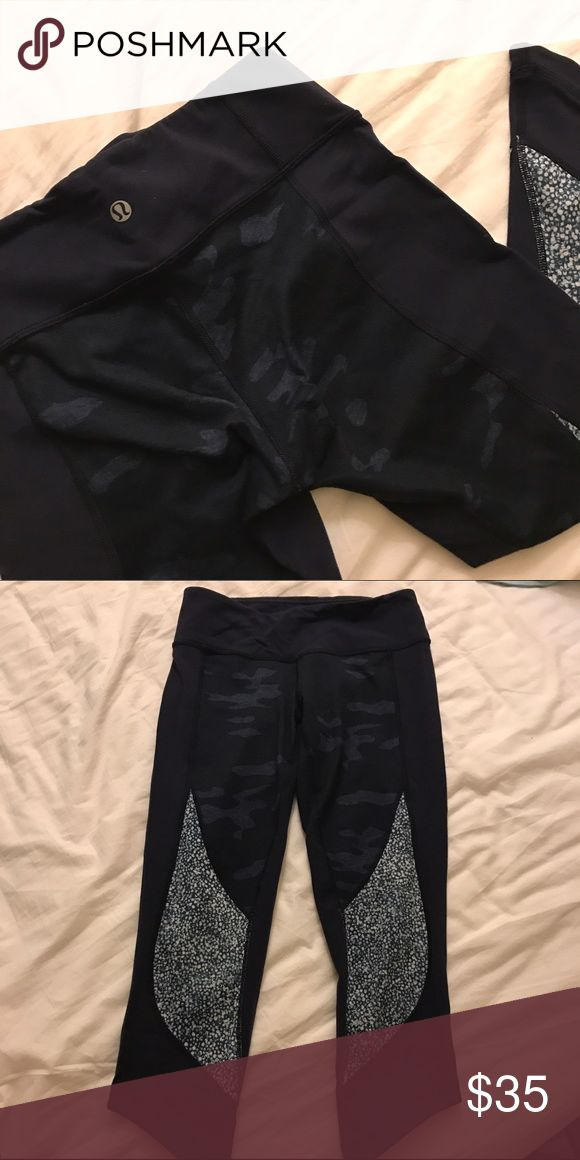 Lululemon Crops Not sure of the exact model, but I believe these are the Run Around Crop: https://shop.lululemon.com/p/women-crops/Run-Around-Crop/_/prod8260053.      Very rare print, great condition! lululemon athletica Pants
