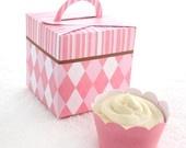 Posh Pink Stripe Printable Cupcake Holder Box.