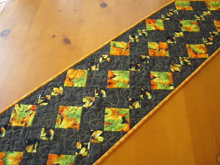 Table Runner Leaves Quilted Handmade Home Decor Orange Gold and Green Table…