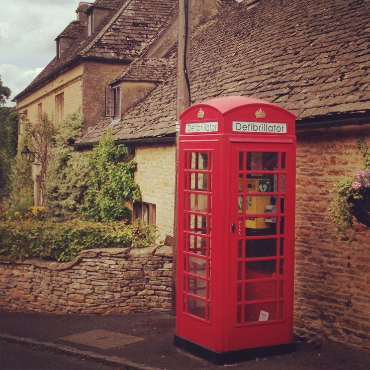 Love it! Old phone box repurposed as the village defibrillator. Upper Slaughter, The Cotswolds