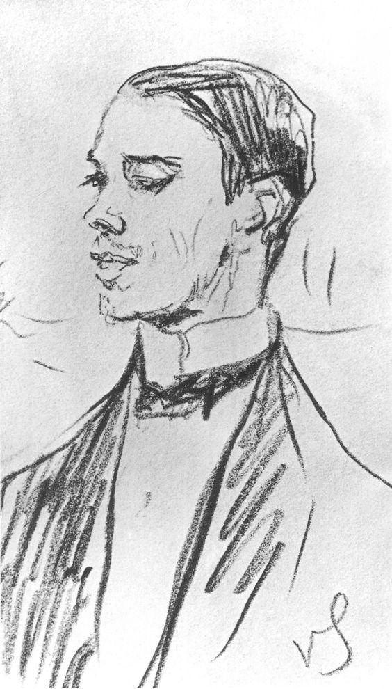 Portrait of Vaslav Nijinsky,  1910 by Valentin Serov (Russian 1865-1911):