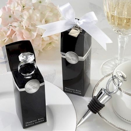 """""""With This Ring"""" Chrome Diamond-Ring Bottle Stopper - Engagement Favors"""