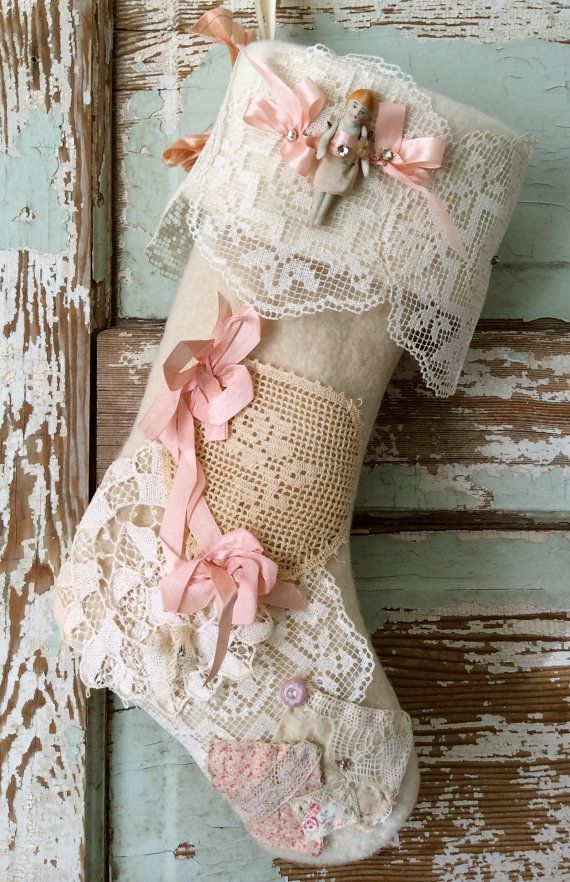 Handmade Heirloom Wool Shabby Chic Stocking with 'Frozen Charlotte', French Silk Ribbons, Antique Lace, Vintage Quilt pieces and more  by Crazy Magpie for Magpie Masterpieces. www.etsy.com/shop/magpiemasterpieces