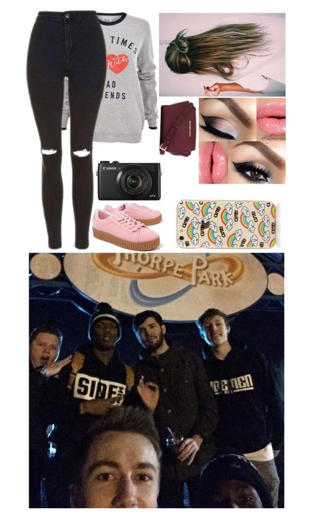 """""""Late Night At Thorpe Park With The Sidemen"""" by glitterbelle11 ❤ liked on Polyvore featuring Topshop, Boohoo and MICHAEL Michael Kors"""