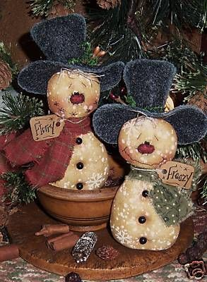 Primitive Snowman Patterns | Patti's Ratties Snowman Frosty Doll Ornies Pattern…