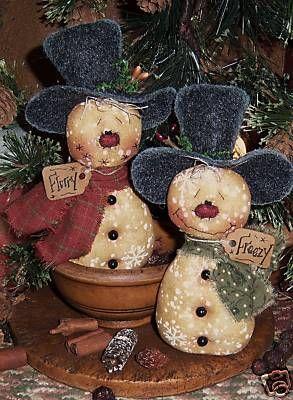 Primitive Snowman Patterns | Patti's Ratties Snowman Frosty Doll Ornies Pattern…