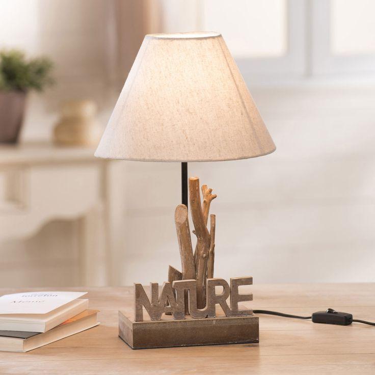 Lampe poser bois naturel avec abat jour conique tissu hauteur cm nature p
