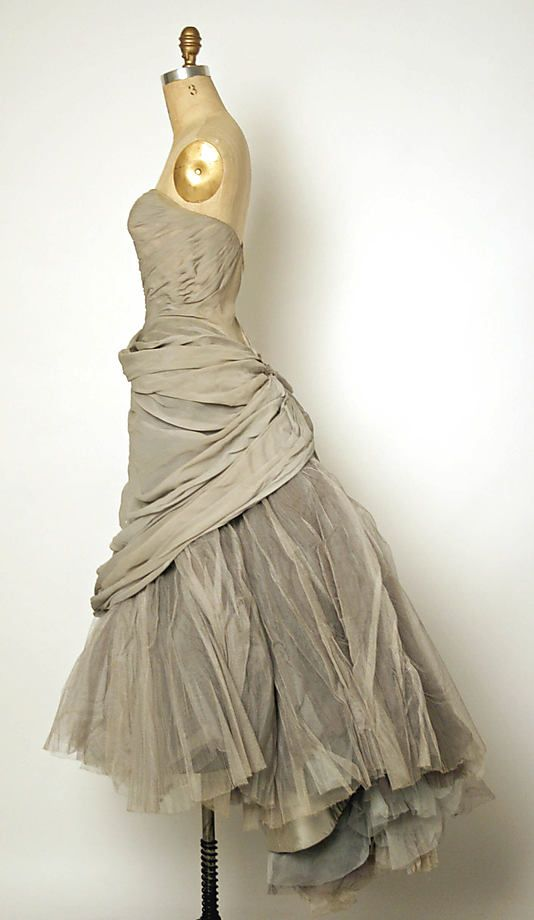 Shades of grey. Charles James grey silk and tulle evening dress, 1950.