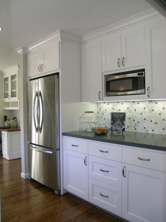 Best 25 refrigerator cabinet ideas on pinterest kitchen for Kraftmaid microwave shelf