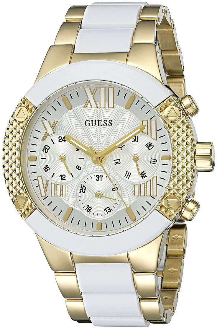 GUESS Women's U0770L1 Trendy White and Gold-Tone Chrono-Look -- Continue to the watch at the image link.