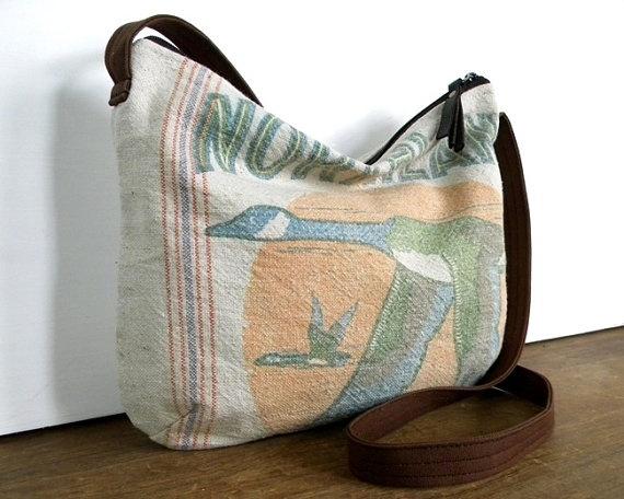 Goose Grain Sack Cross Body Bag by belrossa on Etsy, $60.00