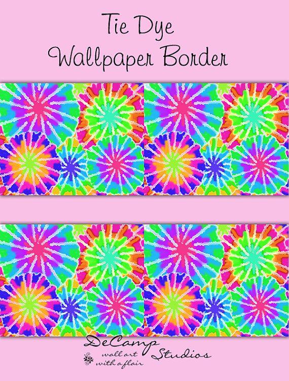TIE DYE WALLPAPER Border Decals Wall Art Girls Rainbow Hippie Room Teen  Decor Childrens Bedroom Kids Abstract Modern Art Stickers