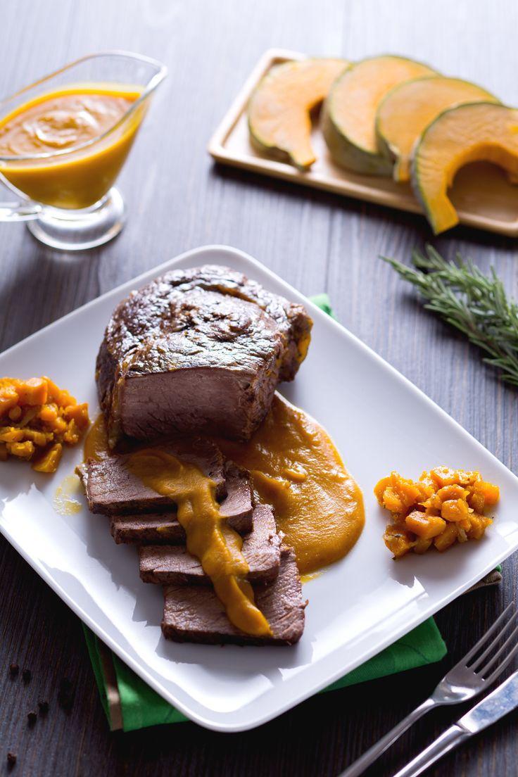 BRASATO ALLA ZUCCA: avvolgente e molto saporito, è perfetto per il tuo pranzo della domenica. Pronto a portare l'autunno in tavola?  Roast with pumpkin cream