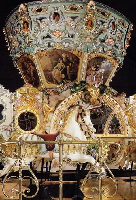 Built in 1890, the 89 foot wide Eden Palais carousel is one of the grandest carousels in the world.  Imported from Paris, France by Magic Mountain of Golden, Colorado shortly before Magic Mountain declared bankruptcy.     The carousel was purchased by the Sanfilippo Foundation for their Place de la Musique museum in Barrington, Illinois where it was restored to its current state.