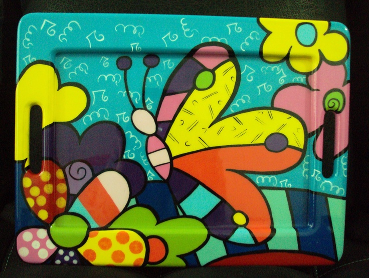 tray painted in Britto style