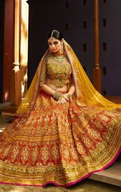 Picture of Tangerine Orange Designer Bridal Wedding Lehenga Choli