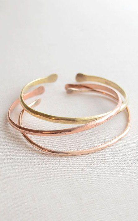 Hammered Bangle Bracelet Set of three