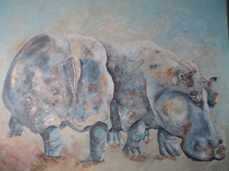 Nijlpaarden. Uitgevoerd met stukjes 3D (oog en staart) en wat glans met een tipje glitter. Bets de Wilde