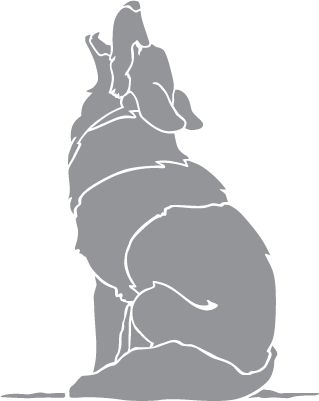 Glass etching stencil of wolf howling at the moon in for Glass etching templates for free