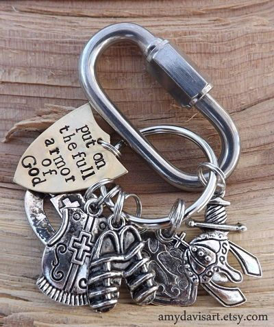 Armor Of God Keychain, Put On The Full Armour of God Christian Key Chain, Armor of God Key Chain for Men (or women), Ephesians 6