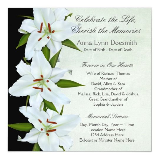 52 best Funeral Invitations Announcements images on Pinterest - death announcement cards free
