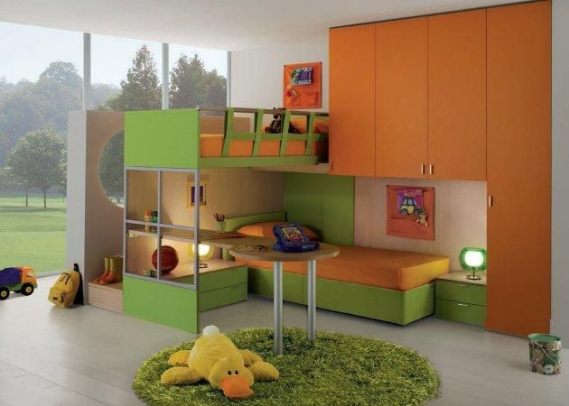 Hire an architect to design a contemporary bed design for your kids' room -- one which could integrate two beds, cabinets and a table. Just like this orange-and-green themed bedroom piece.