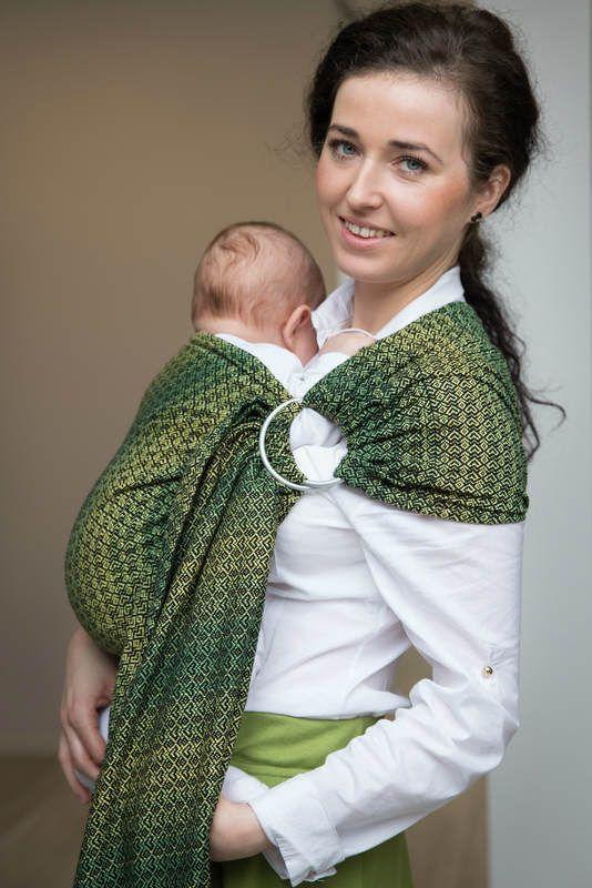 Żakardowa chusta kółkowa do noszenia dzieci, bawełna, ramię bez zakładek - LITTLE LOVE - DRZEWO CYTRYNOWE