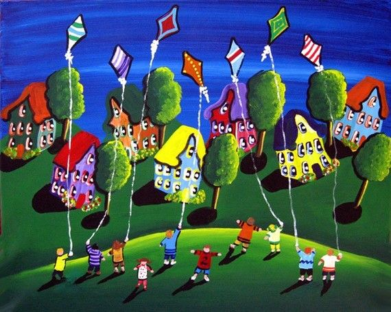 Spring Kids Fly Kites Whimsical Folk Art Original Painting http://www.reniebritenbucher.com