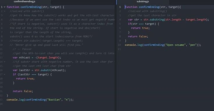 I think both code have same functionality substr() method need negative number to get last char index and substring() method get last char index differentiation from str length and target length. Or what i missed? ahh i don't know i hope i know what it means...#100daysofcode #javascript #html #css #studywebdevelopment #learntocode #freecodecamp #nevergiveup #trymybest #days6