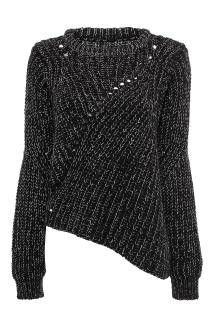 Black Jumper with Asymmetric Hem - US$29.95