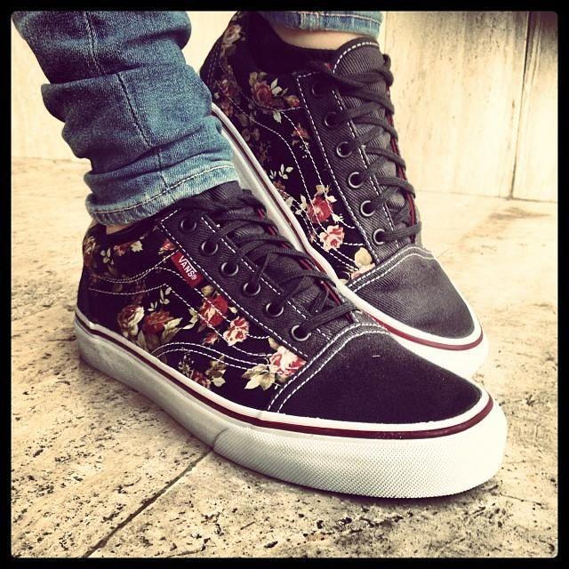scarpe vans con i fiori