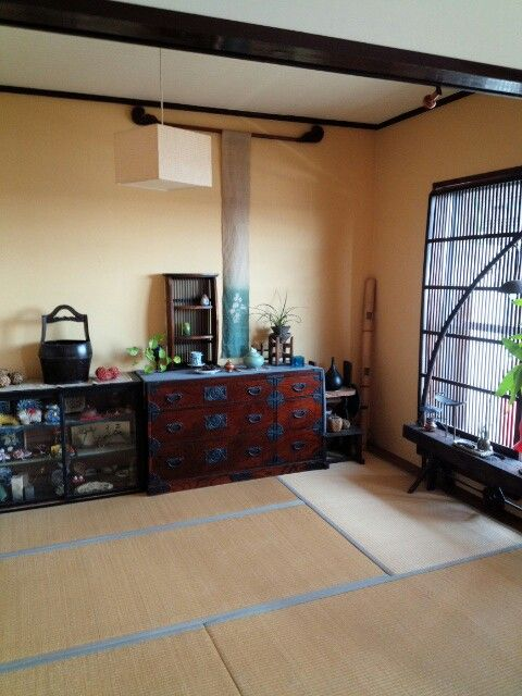 Traditional Japanese living space with tatami matting