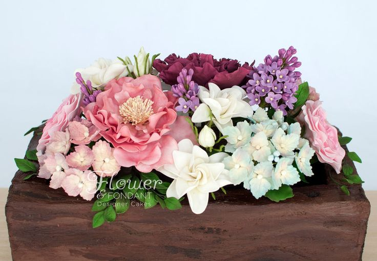 Flower & Fondant Designer Cakes Rose & Succulent Flower Box — Birthday Cakes