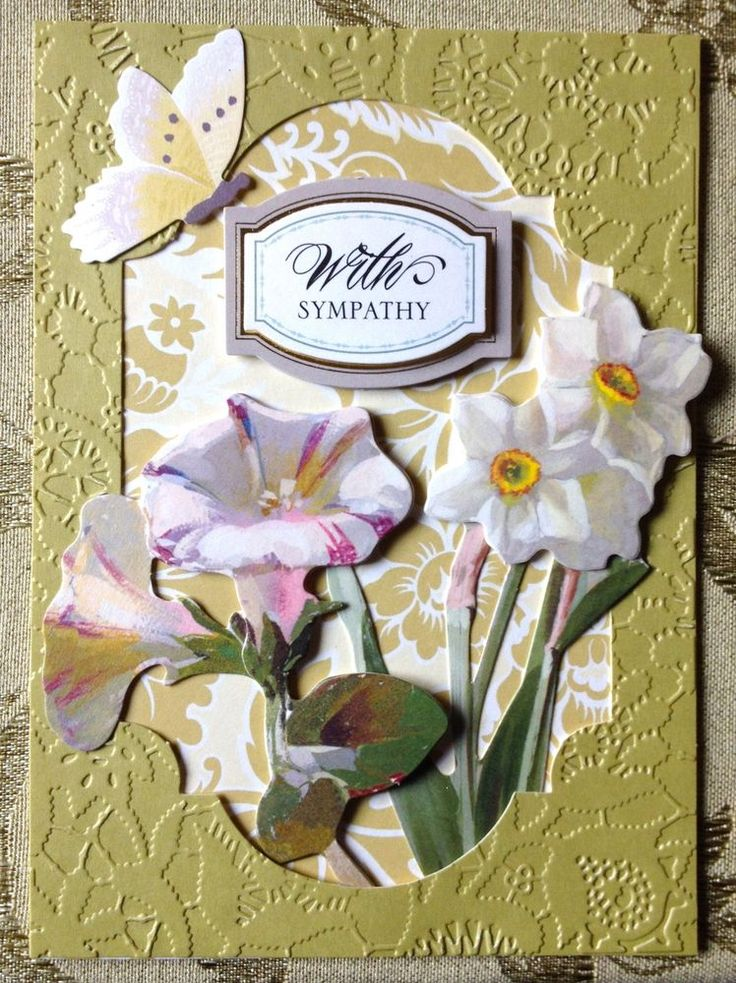 """Handmade Anna Griffin Vintage """"With Sympathy"""" Greeting Card  #SympathyFuneral"""