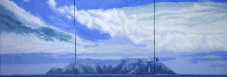 Landscapes | Massimo Catalani La Giraglia 2004 polvere di marmo di Carrara, sabbia vulcanica e pigmenti su tavola