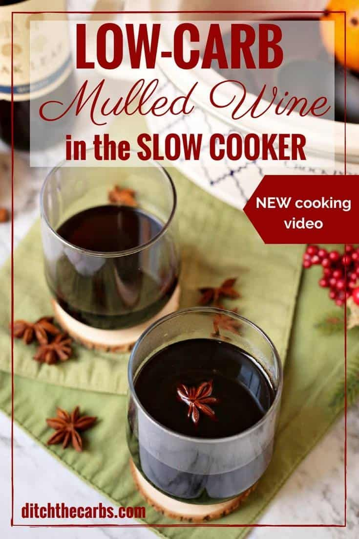 Easy CHEAT'S recipe for slow cooker low-carb mulled wine. Don't tell everyone our secret - the perfect lazy way to entertain guests this festive season. | ditchthecarbs.com via @ditchthecarbs