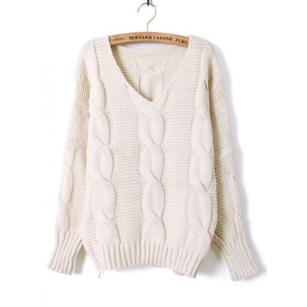 Beige Batwing Long Sleeve Diaper Loose Sweater$44.00 ($44) found on Polyvore