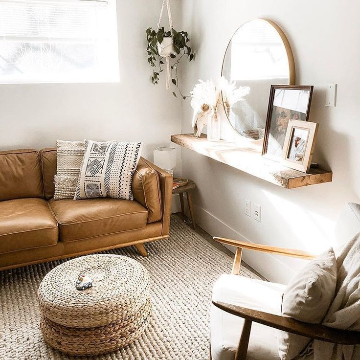 bohemian brown leather couch and round mirror on w # ...